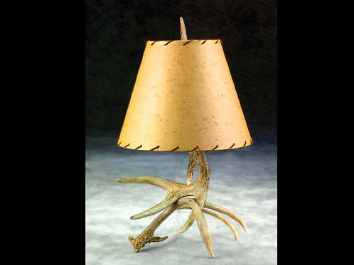 Two Antler Table Lamp with Harp