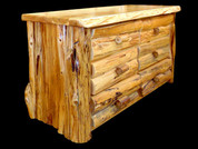 Rustic White Cedar Half Log Style Dresser