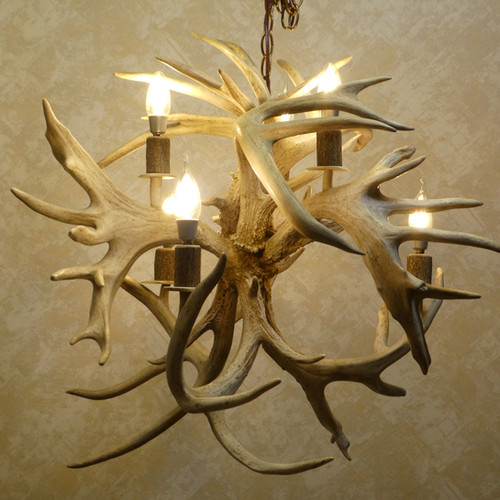 Antler chandeliers on sale griffith in american natural resources fireball 6 light whitetail real antler chandelier aloadofball Choice Image