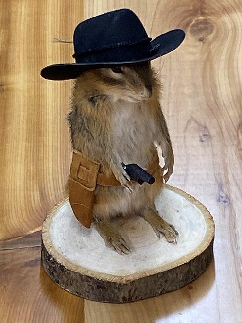 Chipmunk w/ pistol & cowboy hat