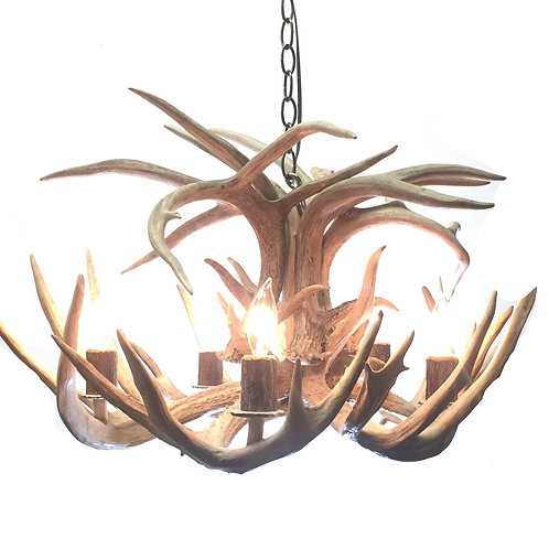 Five Light Single Tier Whitetail Deer Antler Chandelier