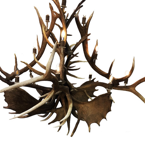 Mammoth Moose and Elk Antler Chandelier