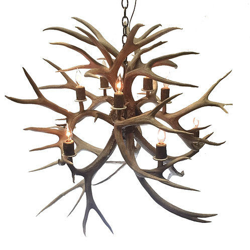 Eight Light Mule Deer Antler Chandelier Fireball