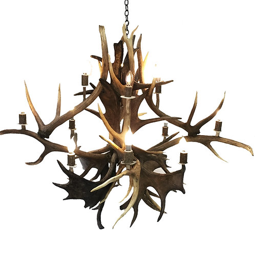 Mini Mammoth Moose and Elk Antler Chandelier