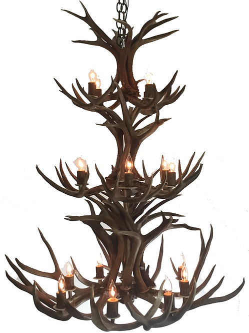 Mule Deer Niagara Three Tier Antler Chandelier