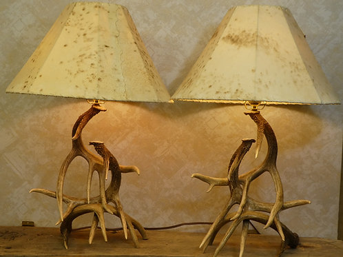 Matched pair of 3 Antler Table Lams