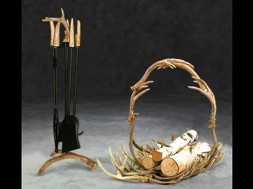 Mule Deer Fireplace Set & Log Basket