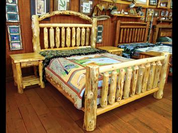 Rustic White Cedar Queen Size Bed