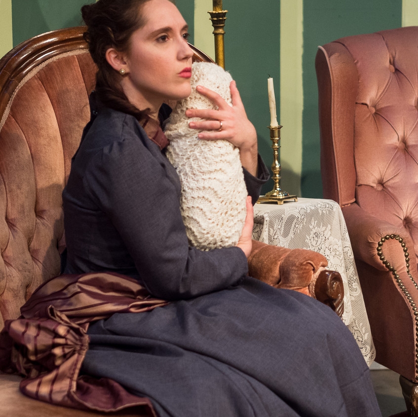 """As Catherine Givings in """"In the Next Room or the vibrator play"""" at Silver Spring Stage, Feb. 2019. Photo (c) Ira Levine"""
