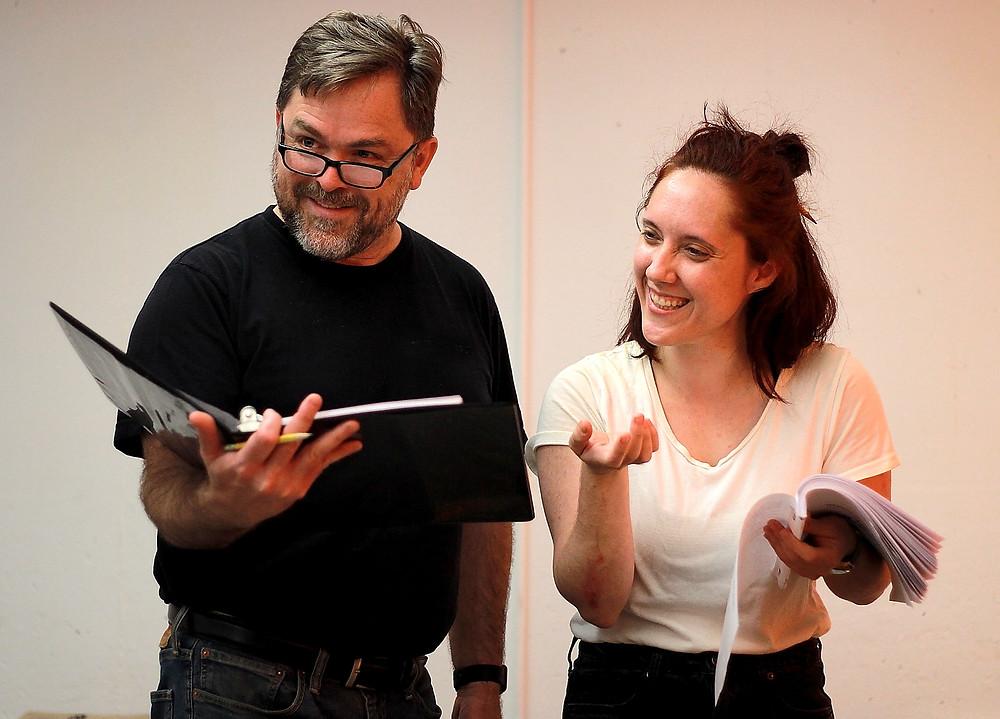 Tom Kemp (Brendan Murray) and Miss Roberts (Emily H. Gilson)