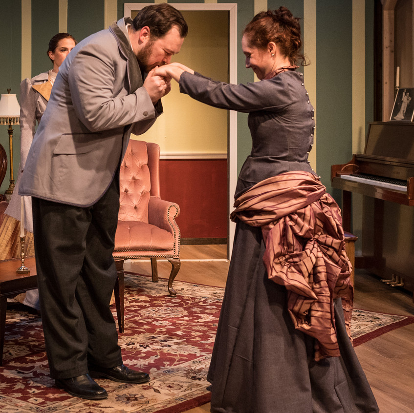 """With Joshuah Laird as Leo Irving in """"In the Next Room or the vibrator play"""" at Silver Spring Stage, February 2019. Photo (c) Harvey Levine"""