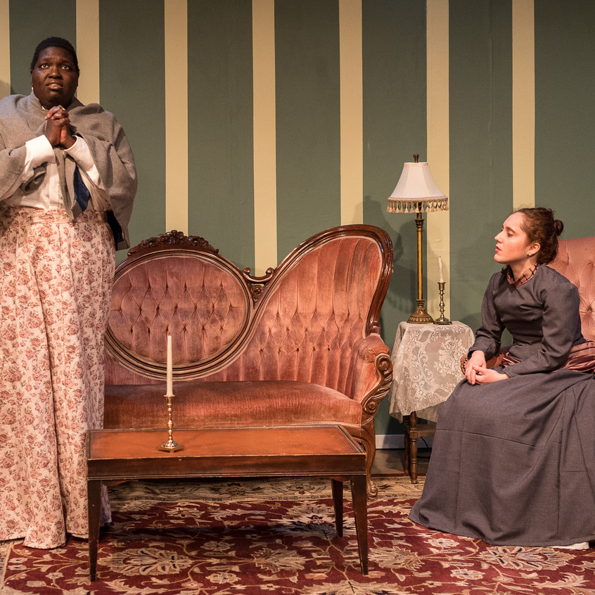 """With Jacqueline Youm as Elizabeth in """"In the Next Room or the vibrator play"""" at Silver Spring Stage, Feb. 2019. Photo (c) Harvey Levine"""