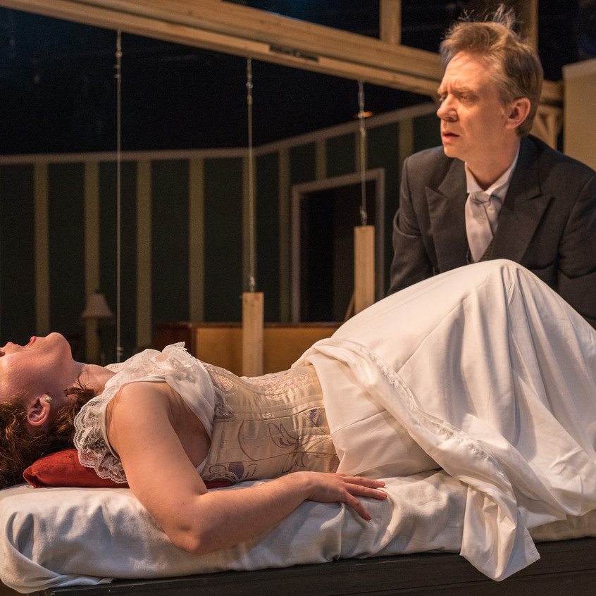 """With Matt J. Bannister as Dr. Givings in """"In the Next Room or the vibrator play"""" at Silver Spring Stage, Feb. 2019. Photo (c) Harvey Levine"""