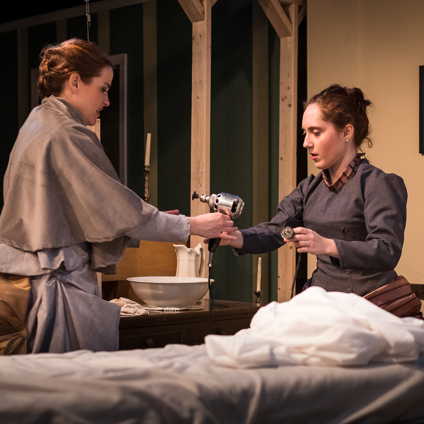 """With Juliet Lloyd as Sabrina Daldry in """"In the Next Room or the vibrator play"""" at Silver Spring Stage, Feb. 2019. Photo (c) Harvey Levine"""