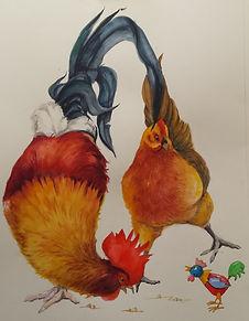poule, coq, aquarelle