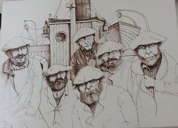 dessin, plume, encre, sépia, morue, marin, pêcheurs