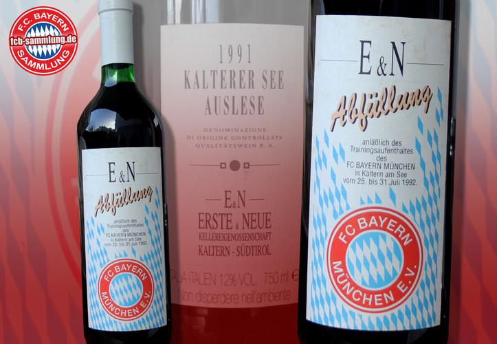 Ungeöffneter Wein der Kellereigenossenschaft Erste & Neue aus Kaltern/Südtirol anlässlich des Trainingslagers in Kaltern am See vom 25. bis 31. Juli 1992.