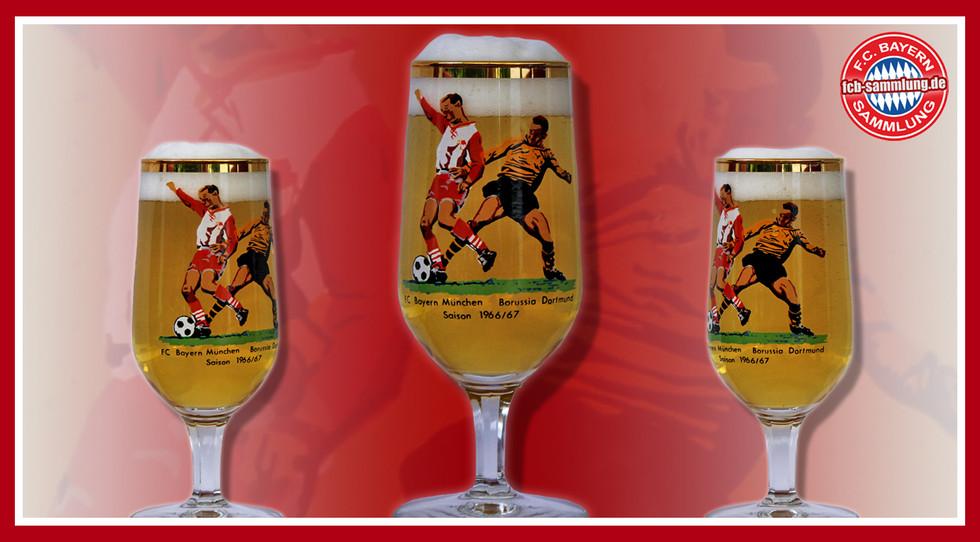 Biertulpe mit Abbildung einer Spielszene der Partie FC Bayern - Borussia Dortmund aus der Saison 1966/67