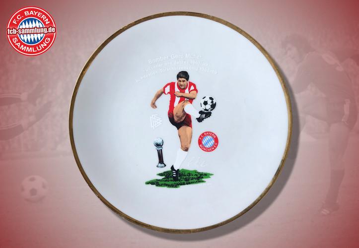 Abbildung von Gerd Müller  Fußballer des Jahres 1967/69 Torschützenkönig 1968/69  Durchmesser 20 cm