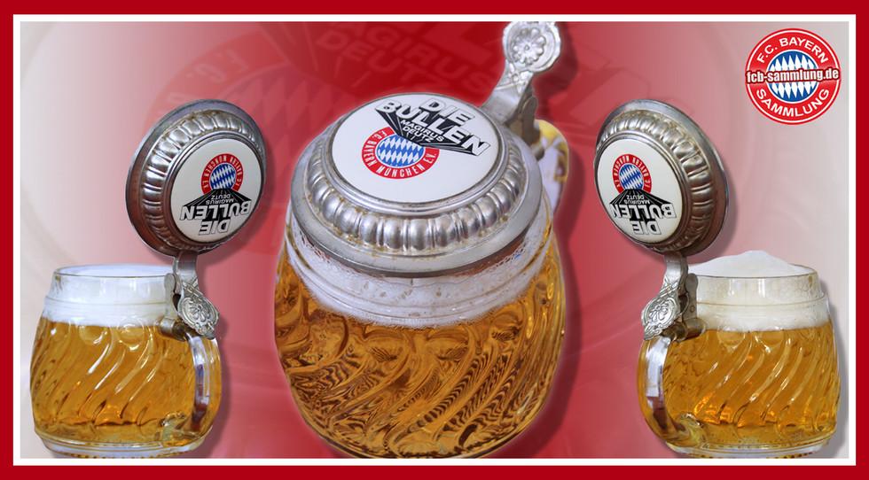 Bierkrug mit Zinndeckel, welcher mit dem Die Bullen-Logo vom damaligen Sponsor Magirus Deutz geschmückt ist