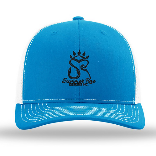 Trucker Hat Cayan Blue/White - Black Logo