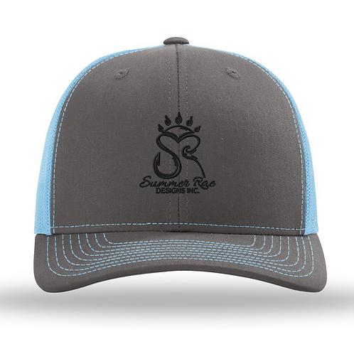 Trucker Hat Charcoal Grey/Baby Blue Black Logo
