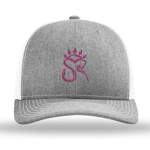 Trucker Hat Grey/White Pink Logo