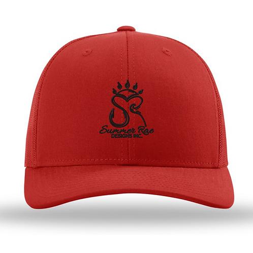 Trucker Hat Red/Red Black Logo