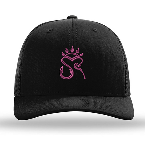 Trucker Hat Black/Black - Pink Logo