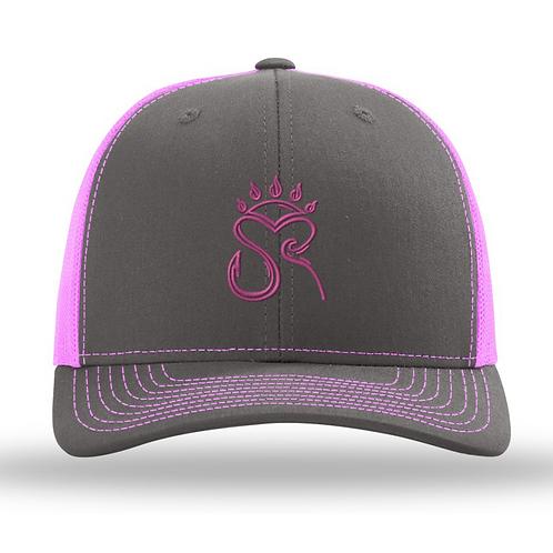 Trucker Hat Charcoal Grey/Pink - Pink Logo