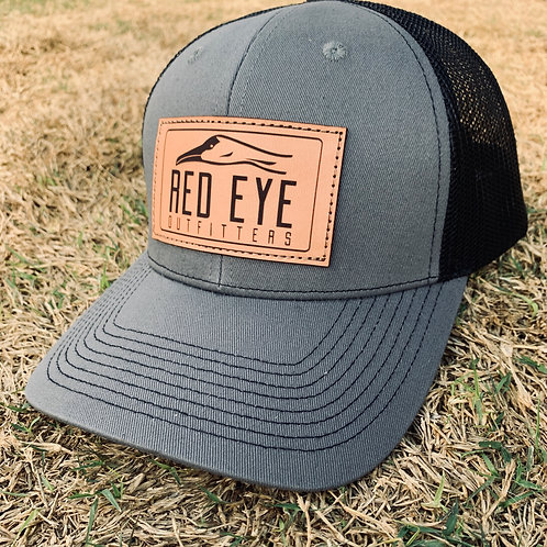 REO Charcoal/Black Leather Patch Hat