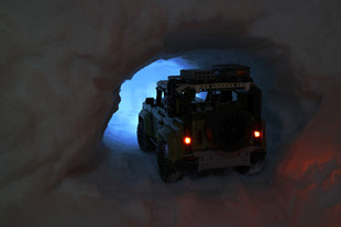 LEGO Defender in snow tunnel
