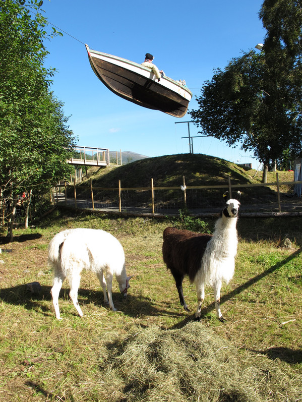 Flying boat ove llamas