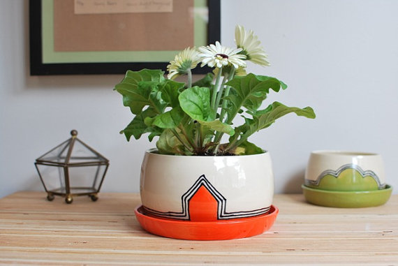 Medium Ceramic Planter - Orange
