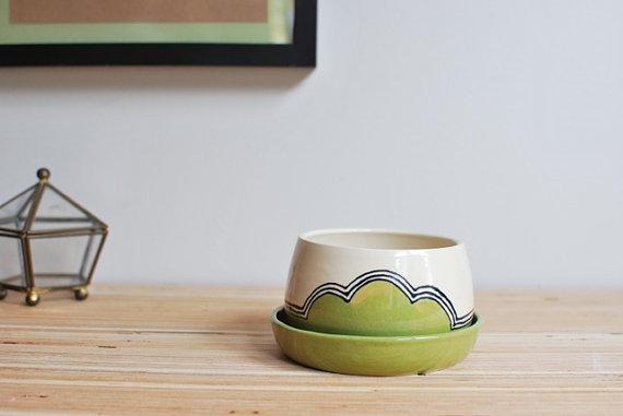 Small Ceramic Planter - Green