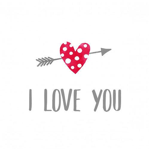 Servetten 'I love you' van PPD 33 x 33 cm