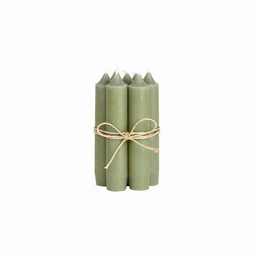 Bundeltje kaarsen - olijfgroen