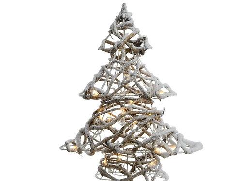 Kerstboom met sneeuw en ledverlichting