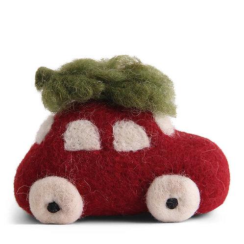 Vilten auto met kerstboom of cadeautjes