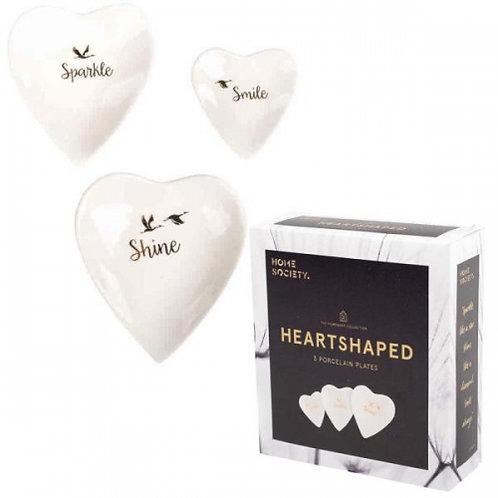 Set van 3 hartvormige schaaltjes