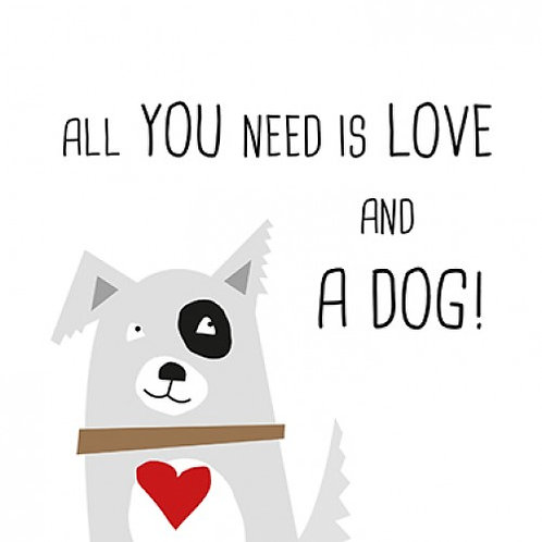 Servetten 'All you need is love and a dog!'