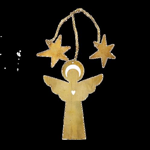 Gouden engeltje met sterren