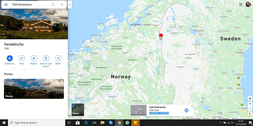 screen view of Google maps with Nedalshytte and Trondheim visible.