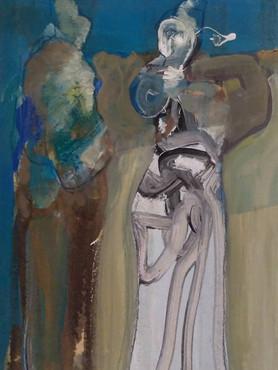 Dos mujeres con fondo azul
