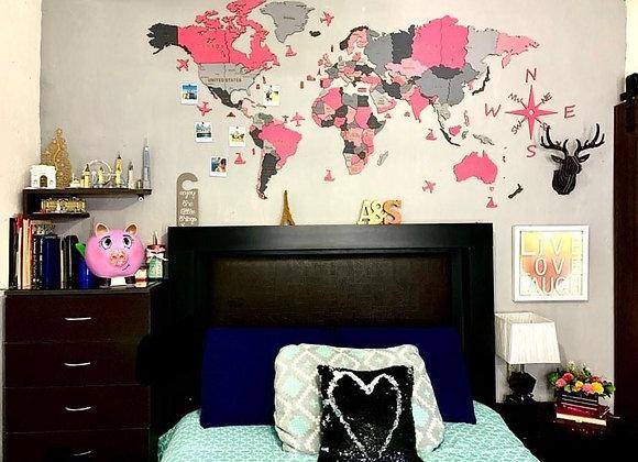 Mapa Mundial 3D Pink Love