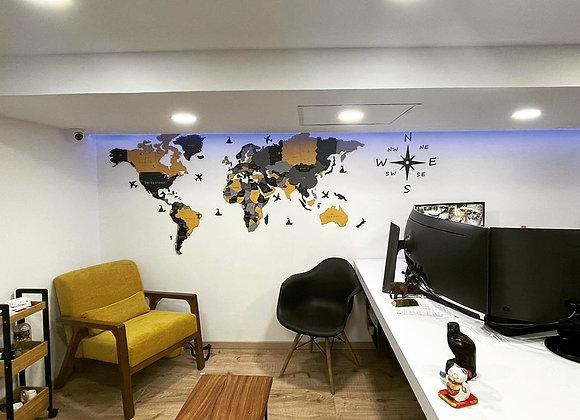 Mapa Mundial 3D Yellow Lights