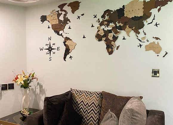 Mapa Mundial 3D Earth Brown