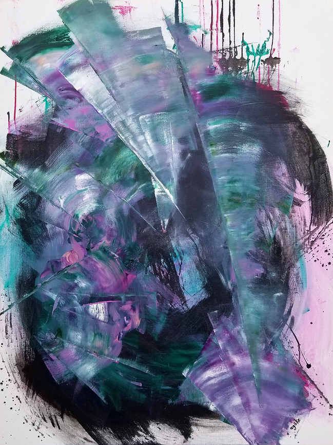Professional grade oil paint and gesso on stretched canvas. The one-of-a-kind artwork, T. albiflora 'Nanouk', has textured vibrant purple, magenta and soft pink floral elements, lush green and white marks on dark background. The paint drips, wild brush strokes, unfinished edges, layers of black gesso on oil creating black droplets, and translucent pink touches create a wild and pleasing composition that reminds us the plant Nanouk.