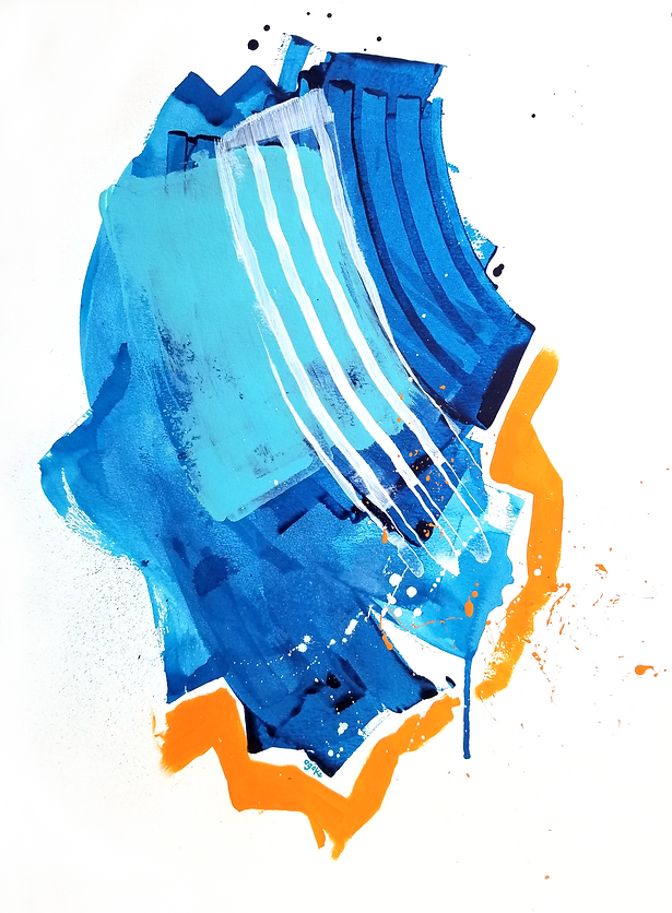 """Anapos is a one-of-a-kind painting from the Summer Waves series which is a minimalist and abstract painting series inspired by the ocean and summer time. It has layers of semi-transperant phthalo blue with light opaque blue, white and bold orange accents.  24"""" x 18"""" Professional grade arcylic paints on 300 gsm cold pressed watercolor paper"""