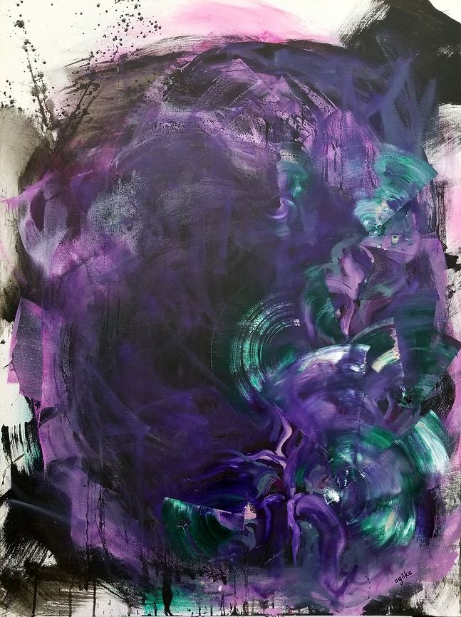 "The one-of-a-kind artwork, T. pallida 'Purple Heart', has textured vibrant purple, lush green and soft white floral elements on dark background. The paint drips, wild brush strokes, unfinished edges, layers of black gesso on oil creating black droplets, and vibrant purple marks give this painting a appealing depth through layers.   Sizes: 40"" x 30"" x 1.5""  Professional grade oil paint and gesso on stretched canvas, and varnished for UV protection."